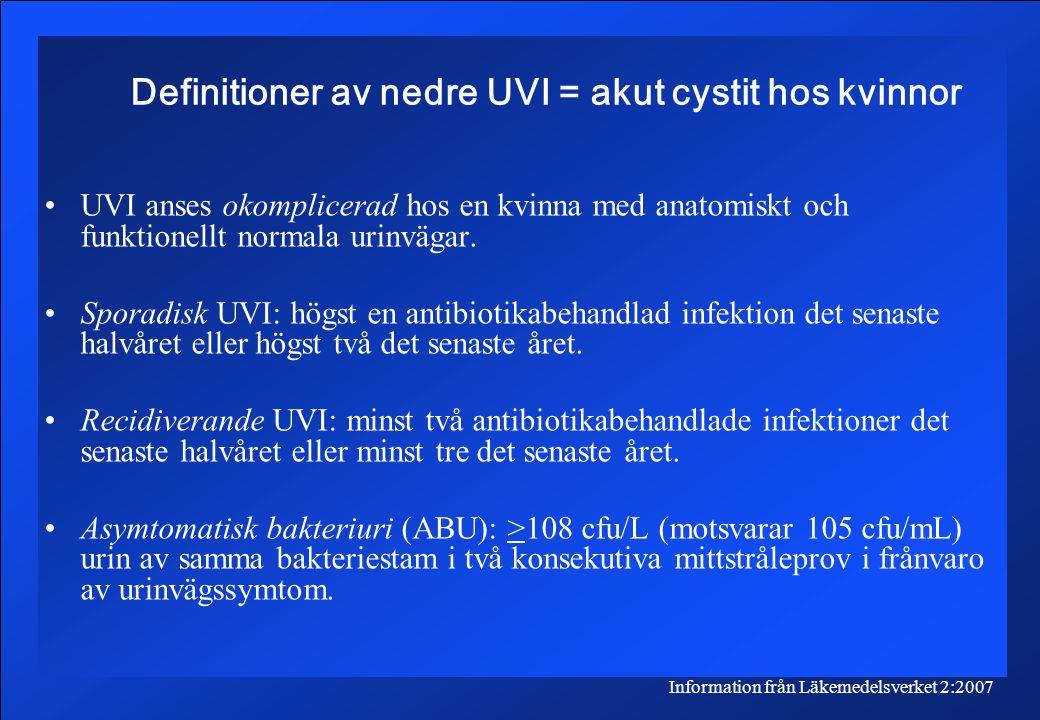 Definitioner av nedre UVI = akut cystit hos kvinnor UVI anses okomplicerad hos en kvinna med anatomiskt och funktionellt normala urinvägar.