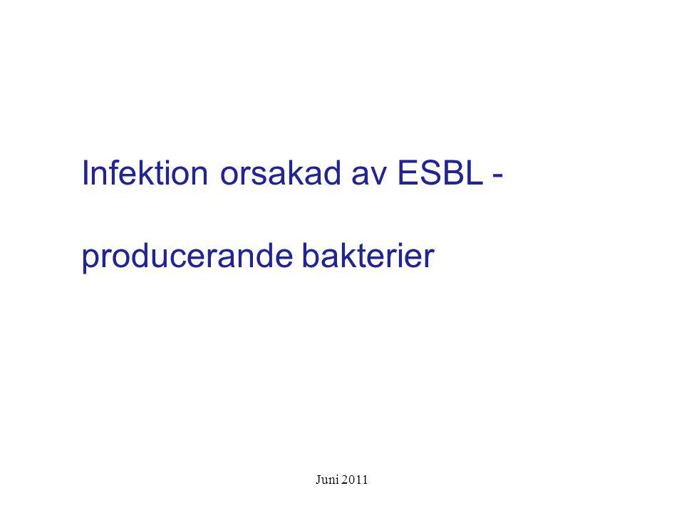 Infektion orsakad av ESBL - producerande bakterier Juni 2011