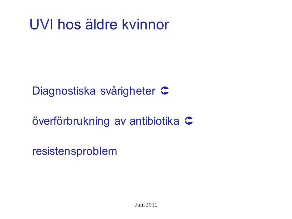 ABU Prevalens hos kvinnor: >65 år5-20% på sjukhem 25-50% Pyuri hos > 90 % Pyuri hos 30 % med negativ urinodling Symtomgivande UVI ovanligt hos dem med ABU Juni 2011