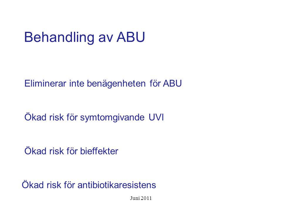 Strategi Överväg antibiotika vid nytillkomna urinvägssymtom Urinodling för art- och resistensbestämning Negativ urinodling talar starkt emot UVI Använd testremsa för U-nitrit/U-LPK endast vid misstanke om symtomgivande UVI Juni 2011