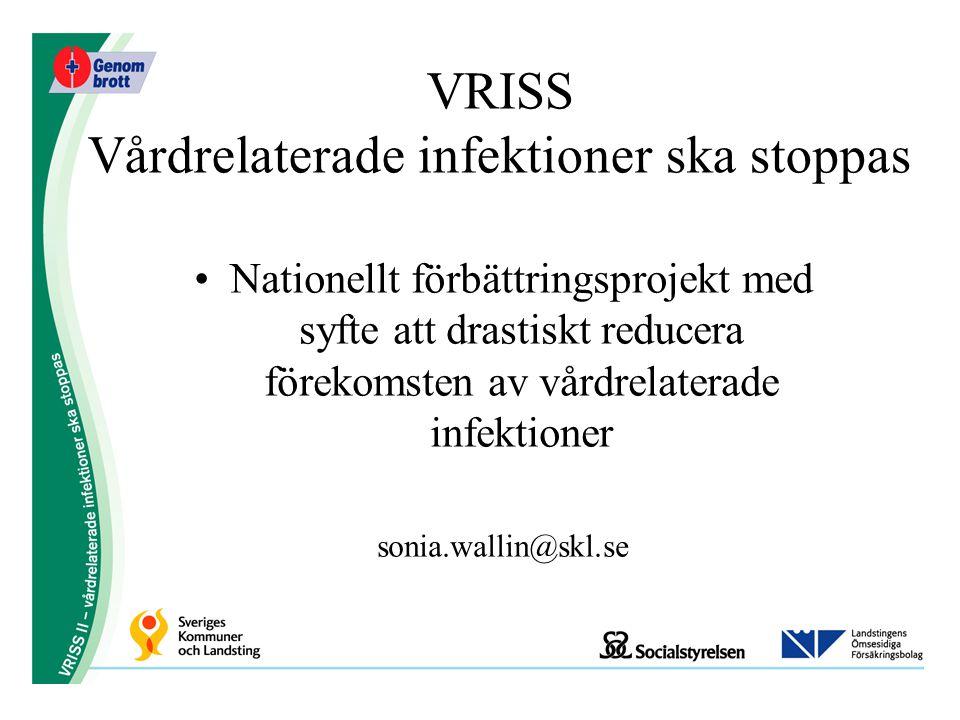 Nationellt förbättringsprojekt med syfte att drastiskt reducera förekomsten av vårdrelaterade infektioner sonia.wallin@skl.se VRISS Vårdrelaterade inf