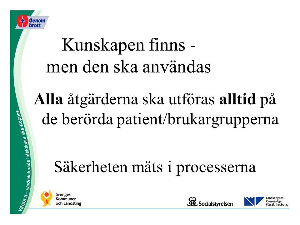 Kunskapen finns - men den ska användas Alla åtgärderna ska utföras alltid på de berörda patient/brukargrupperna Säkerheten mäts i processerna