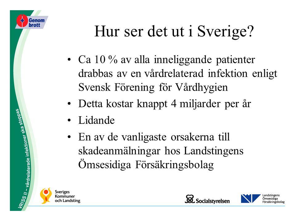 Hur ser det ut i Sverige? Ca 10 % av alla inneliggande patienter drabbas av en vårdrelaterad infektion enligt Svensk Förening för Vårdhygien Detta kos