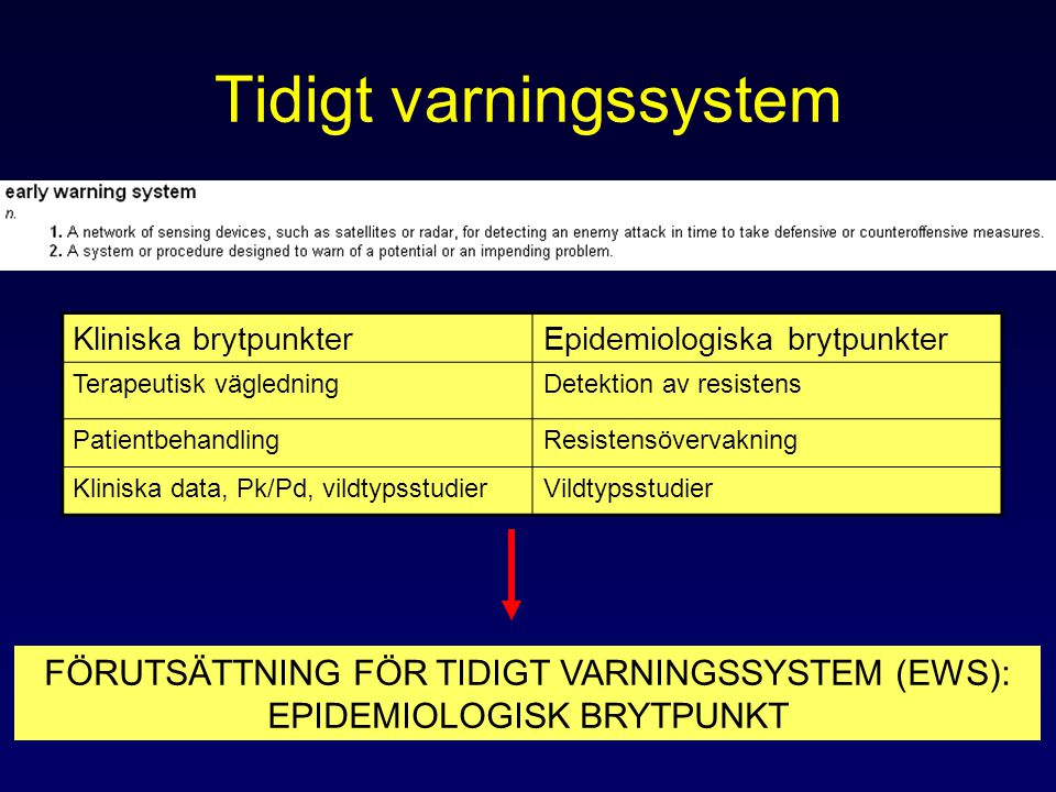 Tidigt varningssystem Kliniska brytpunkterEpidemiologiska brytpunkter Terapeutisk vägledningDetektion av resistens PatientbehandlingResistensövervakning Kliniska data, Pk/Pd, vildtypsstudierVildtypsstudier FÖRUTSÄTTNING FÖR TIDIGT VARNINGSSYSTEM (EWS): EPIDEMIOLOGISK BRYTPUNKT