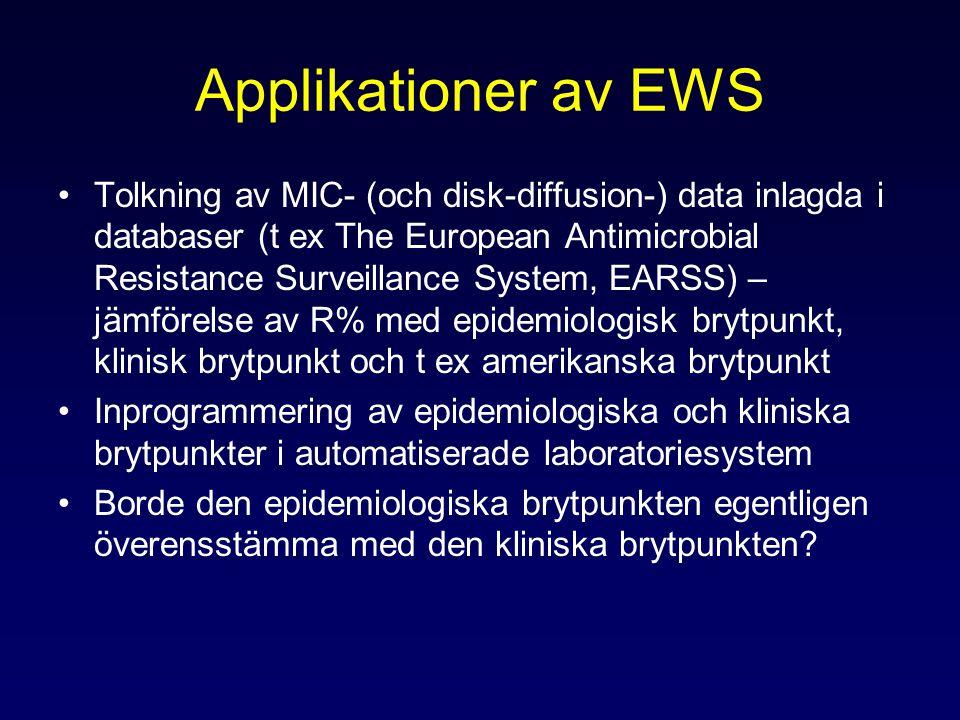 Applikationer av EWS Tolkning av MIC- (och disk-diffusion-) data inlagda i databaser (t ex The European Antimicrobial Resistance Surveillance System, EARSS) – jämförelse av R% med epidemiologisk brytpunkt, klinisk brytpunkt och t ex amerikanska brytpunkt Inprogrammering av epidemiologiska och kliniska brytpunkter i automatiserade laboratoriesystem Borde den epidemiologiska brytpunkten egentligen överensstämma med den kliniska brytpunkten