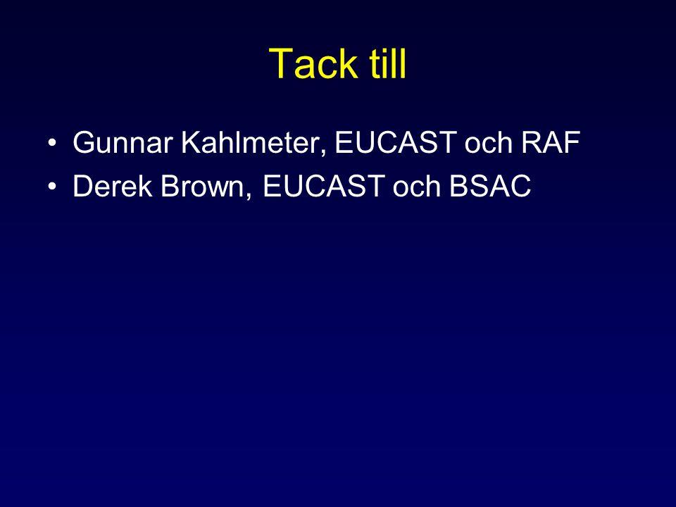 Tack till Gunnar Kahlmeter, EUCAST och RAF Derek Brown, EUCAST och BSAC