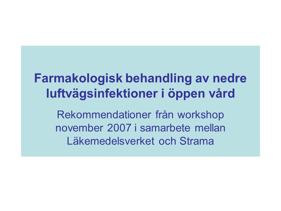 Farmakologisk behandling av nedre luftvägsinfektioner i öppen vård Rekommendationer från workshop november 2007 i samarbete mellan Läkemedelsverket oc