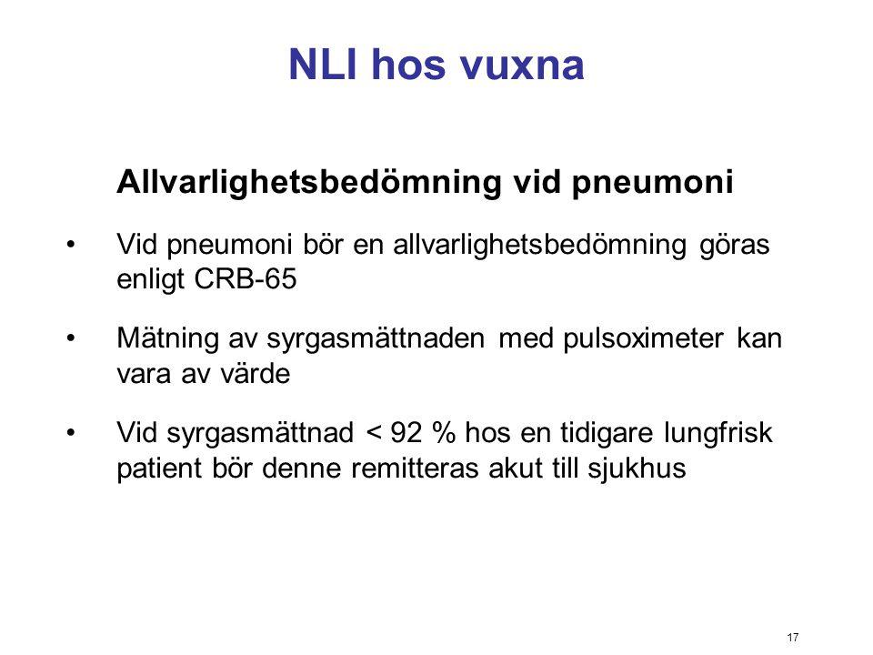 17 NLI hos vuxna Allvarlighetsbedömning vid pneumoni Vid pneumoni bör en allvarlighetsbedömning göras enligt CRB-65 Mätning av syrgasmättnaden med pul