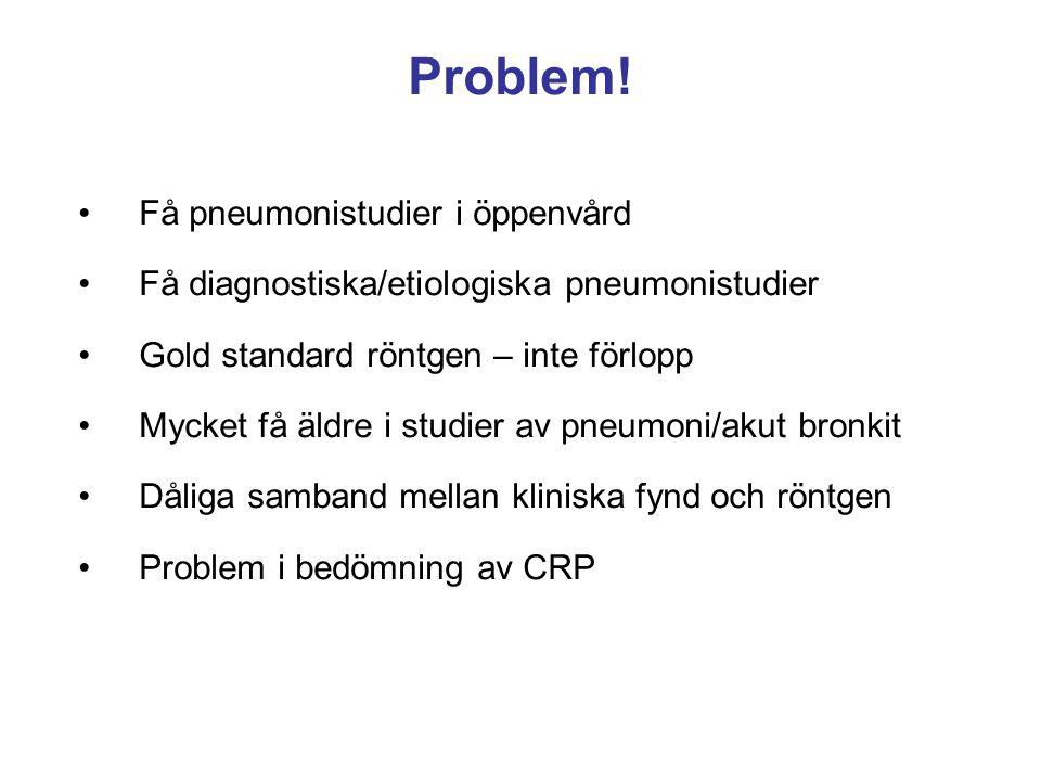 Problem! Få pneumonistudier i öppenvård Få diagnostiska/etiologiska pneumonistudier Gold standard röntgen – inte förlopp Mycket få äldre i studier av
