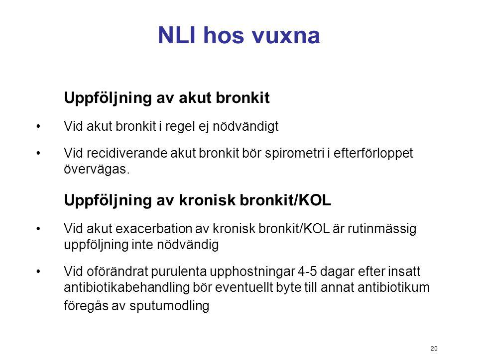 20 NLI hos vuxna Uppföljning av akut bronkit Vid akut bronkit i regel ej nödvändigt Vid recidiverande akut bronkit bör spirometri i efterförloppet öve