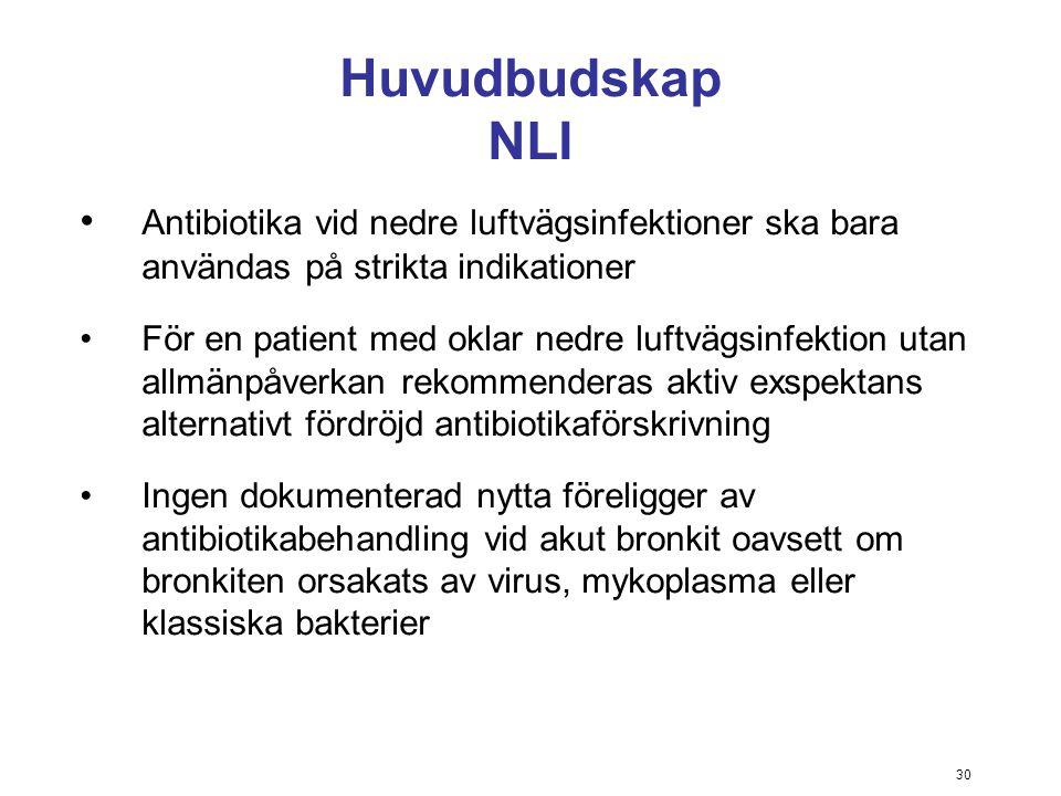 30 Huvudbudskap NLI Antibiotika vid nedre luftvägsinfektioner ska bara användas på strikta indikationer För en patient med oklar nedre luftvägsinfekti