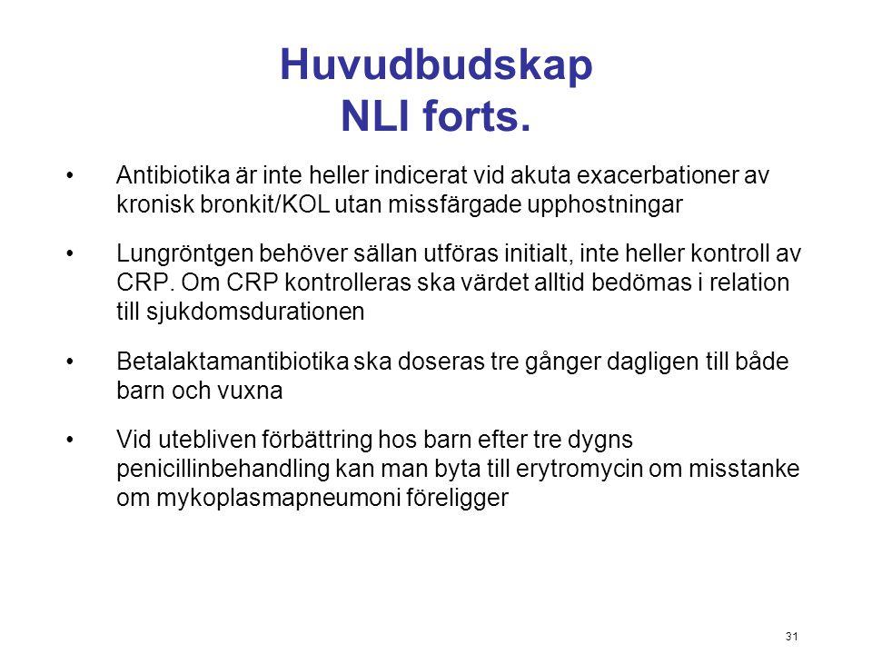 31 Huvudbudskap NLI forts. Antibiotika är inte heller indicerat vid akuta exacerbationer av kronisk bronkit/KOL utan missfärgade upphostningar Lungrön