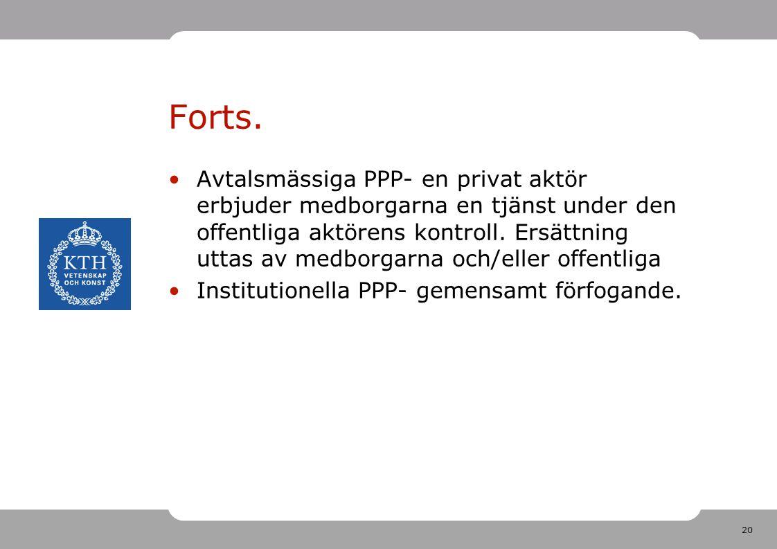 20 Forts. Avtalsmässiga PPP- en privat aktör erbjuder medborgarna en tjänst under den offentliga aktörens kontroll. Ersättning uttas av medborgarna oc
