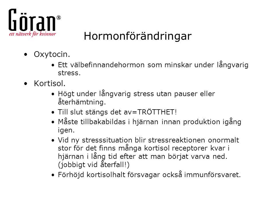 Hormonförändringar Oxytocin. Ett välbefinnandehormon som minskar under långvarig stress. Kortisol. Högt under långvarig stress utan pauser eller återh