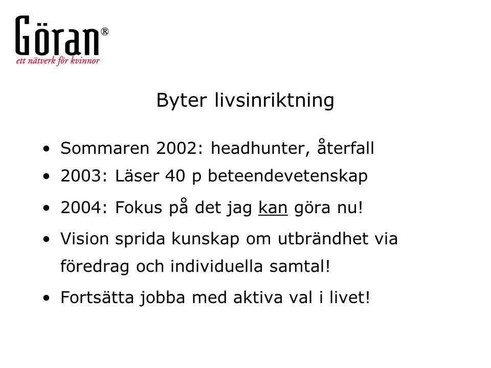 Byter livsinriktning Sommaren 2002: headhunter, återfall 2003: Läser 40 p beteendevetenskap 2004: Fokus på det jag kan göra nu! Vision sprida kunskap