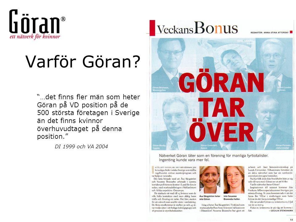 """Varför Göran? """"…det finns fler män som heter Göran på VD position på de 500 största företagen i Sverige än det finns kvinnor överhuvudtaget på denna p"""