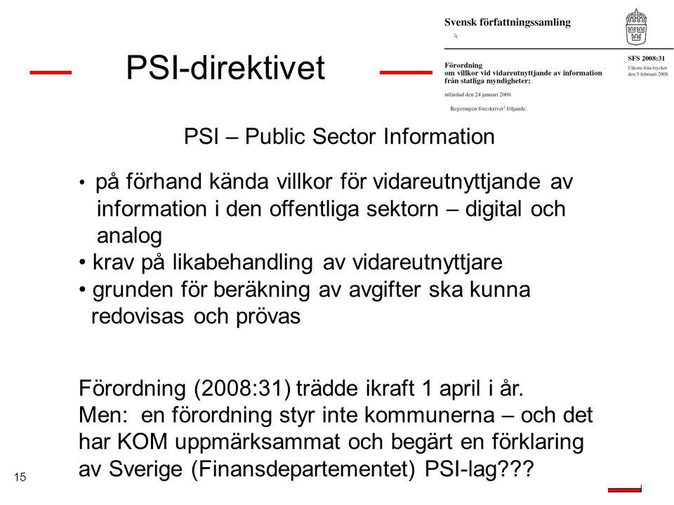 15 PSI-direktivet PSI – Public Sector Information på förhand kända villkor för vidareutnyttjande av information i den offentliga sektorn – digital och