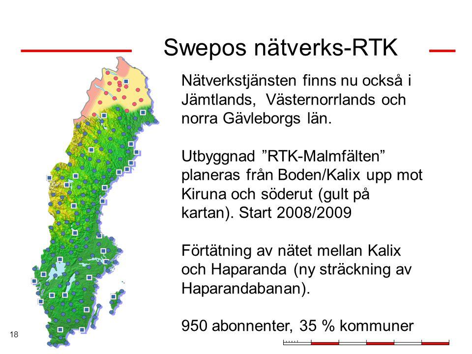 """18 Swepos nätverks-RTK Nätverkstjänsten finns nu också i Jämtlands, Västernorrlands och norra Gävleborgs län. Utbyggnad """"RTK-Malmfälten"""" planeras från"""
