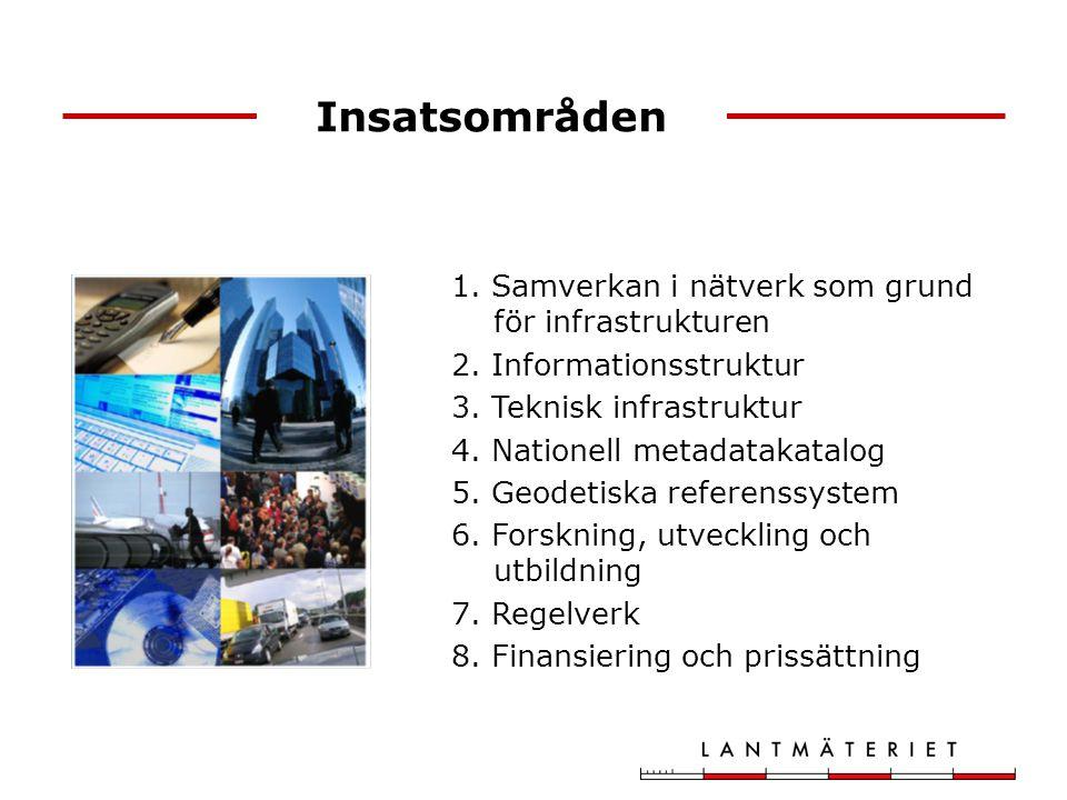 Insatsområden 1. Samverkan i nätverk som grund för infrastrukturen 2. Informationsstruktur 3. Teknisk infrastruktur 4. Nationell metadatakatalog 5. Ge