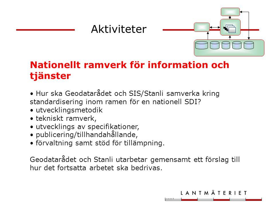 Aktiviteter Nationellt ramverk för information och tjänster Hur ska Geodatarådet och SIS/Stanli samverka kring standardisering inom ramen för en natio