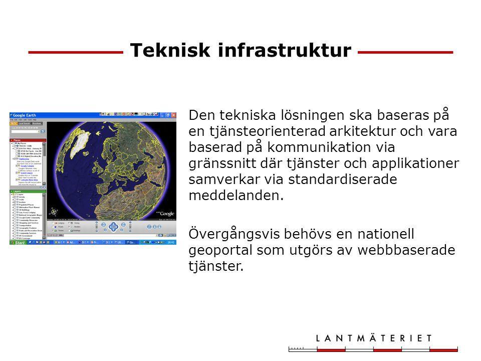 Teknisk infrastruktur Den tekniska lösningen ska baseras på en tjänsteorienterad arkitektur och vara baserad på kommunikation via gränssnitt där tjäns