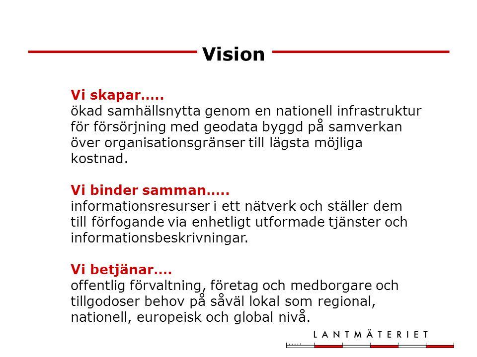 Nationell geodatastrategi Utgångspunkter: Efterfrågestyrd Flexibel och smidig anpassning till nya behov Minskade kostnader Samverkan Tillväxt Internationellt Föregångare inom e-förvaltning