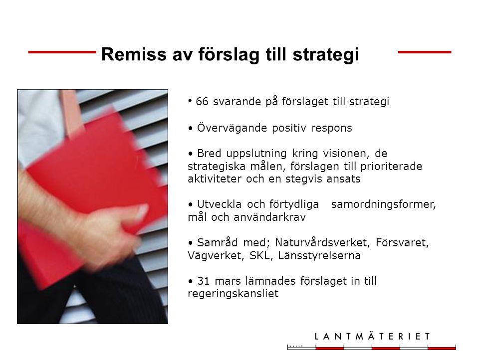 66 svarande på förslaget till strategi Övervägande positiv respons Bred uppslutning kring visionen, de strategiska målen, förslagen till prioriterade
