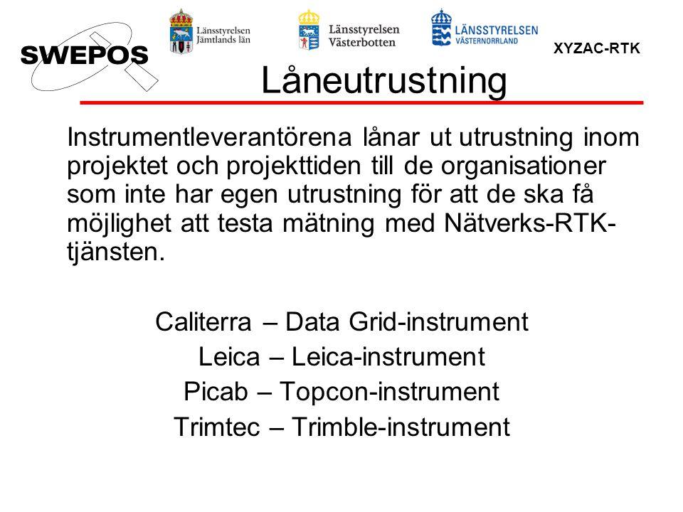 XYZAC-RTK Låneutrustning Instrumentleverantörena lånar ut utrustning inom projektet och projekttiden till de organisationer som inte har egen utrustni