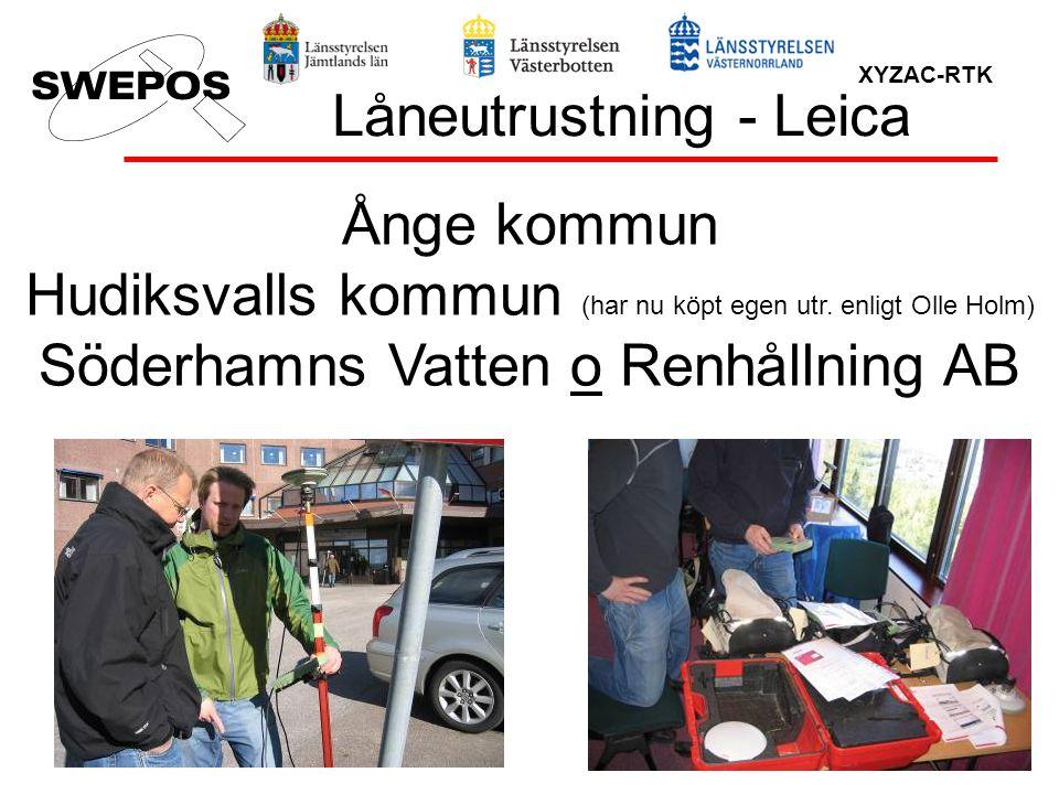 XYZAC-RTK Låneutrustning - Leica Ånge kommun Hudiksvalls kommun (har nu köpt egen utr. enligt Olle Holm) Söderhamns Vatten o Renhållning AB