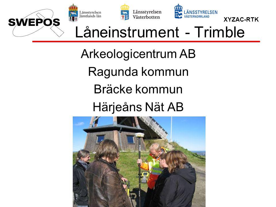 XYZAC-RTK Låneinstrument - Trimble Arkeologicentrum AB Ragunda kommun Bräcke kommun Härjeåns Nät AB