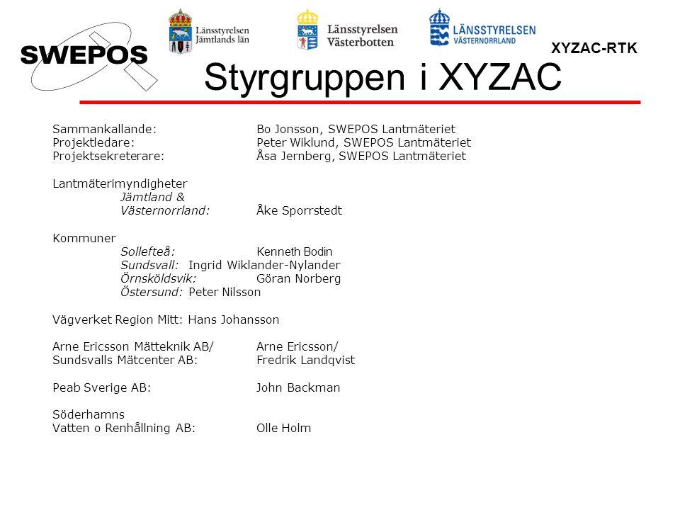XYZAC-RTK Styrgruppen i XYZAC Sammankallande:Bo Jonsson, SWEPOS Lantmäteriet Projektledare:Peter Wiklund, SWEPOS Lantmäteriet Projektsekreterare:Åsa J