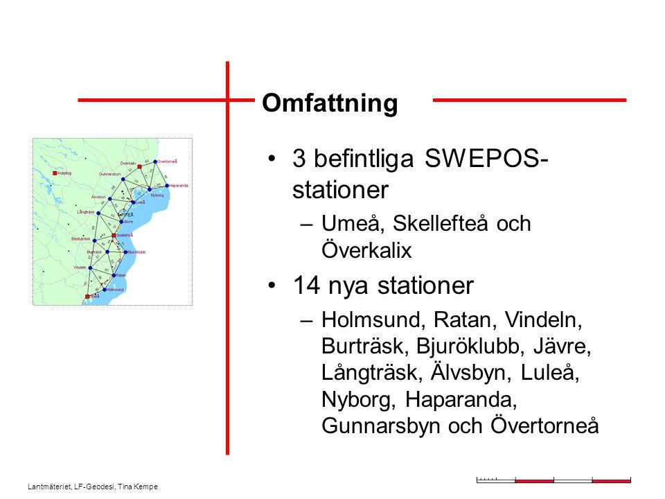 Lantmäteriet, LF-Geodesi, Tina Kempe Omfattning 3 befintliga SWEPOS- stationer –Umeå, Skellefteå och Överkalix 14 nya stationer –Holmsund, Ratan, Vind