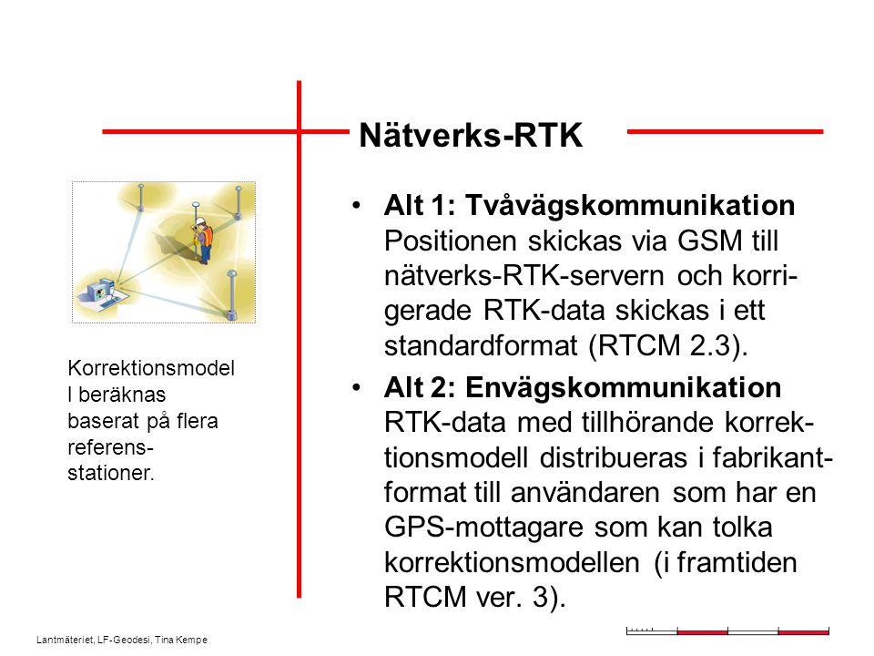 Lantmäteriet, LF-Geodesi, Tina Kempe Alt 1: Tvåvägskommunikation Positionen skickas via GSM till nätverks-RTK-servern och korri- gerade RTK-data skick