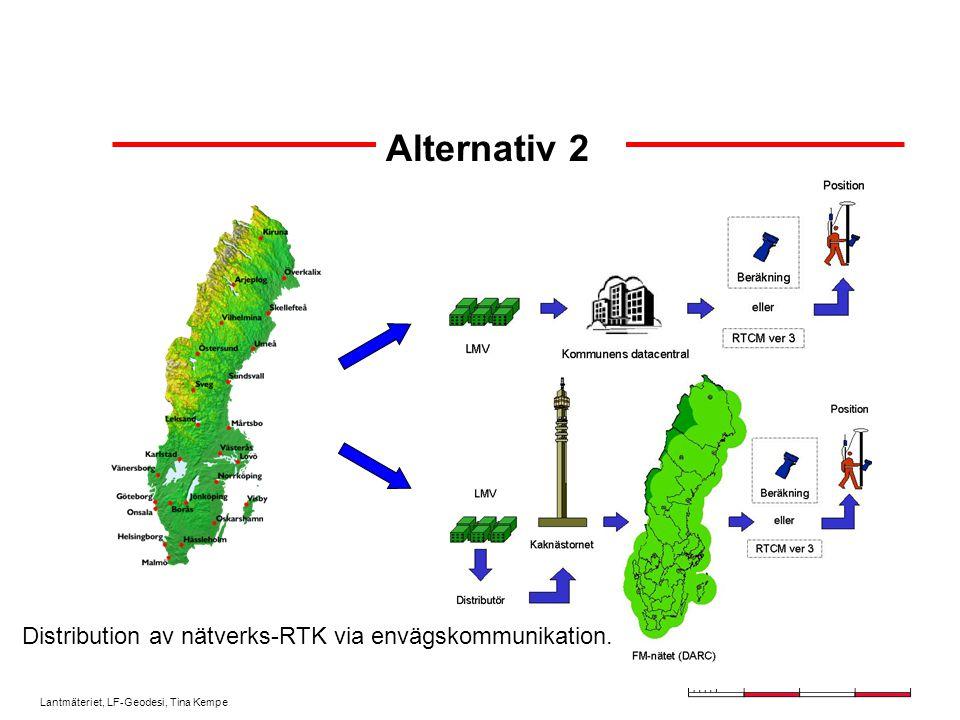Lantmäteriet, LF-Geodesi, Tina Kempe Alternativ 2 Distribution av nätverks-RTK via envägskommunikation.