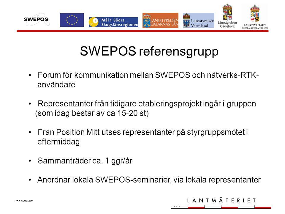 Position Mitt SWEPOS referensgrupp Forum för kommunikation mellan SWEPOS och nätverks-RTK- användare Representanter från tidigare etableringsprojekt ingår i gruppen (som idag består av ca 15-20 st) Från Position Mitt utses representanter på styrgruppsmötet i eftermiddag Sammanträder ca.