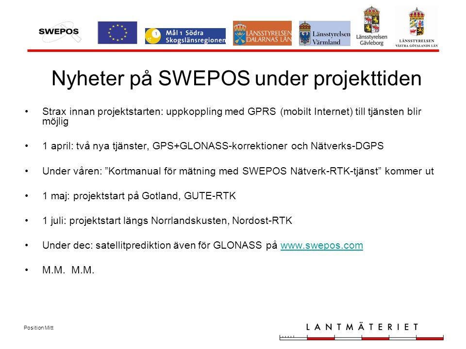 Position Mitt Nyheter på SWEPOS under projekttiden Strax innan projektstarten: uppkoppling med GPRS (mobilt Internet) till tjänsten blir möjlig 1 april: två nya tjänster, GPS+GLONASS-korrektioner och Nätverks-DGPS Under våren: Kortmanual för mätning med SWEPOS Nätverk-RTK-tjänst kommer ut 1 maj: projektstart på Gotland, GUTE-RTK 1 juli: projektstart längs Norrlandskusten, Nordost-RTK Under dec: satellitprediktion även för GLONASS på www.swepos.comwww.swepos.com M.M.