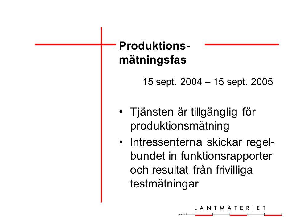 Produktions- mätningsfas 15 sept. 2004 – 15 sept.