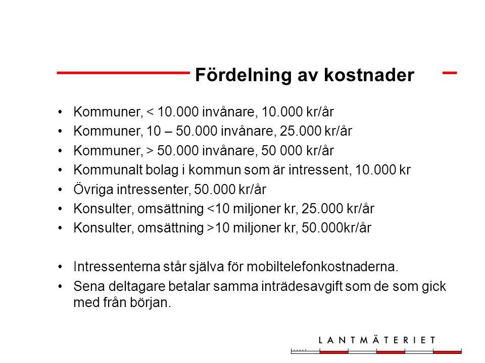 Kommuner, < 10.000 invånare, 10.000 kr/år Kommuner, 10 – 50.000 invånare, 25.000 kr/år Kommuner, > 50.000 invånare, 50 000 kr/år Kommunalt bolag i kommun som är intressent, 10.000 kr Övriga intressenter, 50.000 kr/år Konsulter, omsättning <10 miljoner kr, 25.000 kr/år Konsulter, omsättning >10 miljoner kr, 50.000kr/år Intressenterna står själva för mobiltelefonkostnaderna.