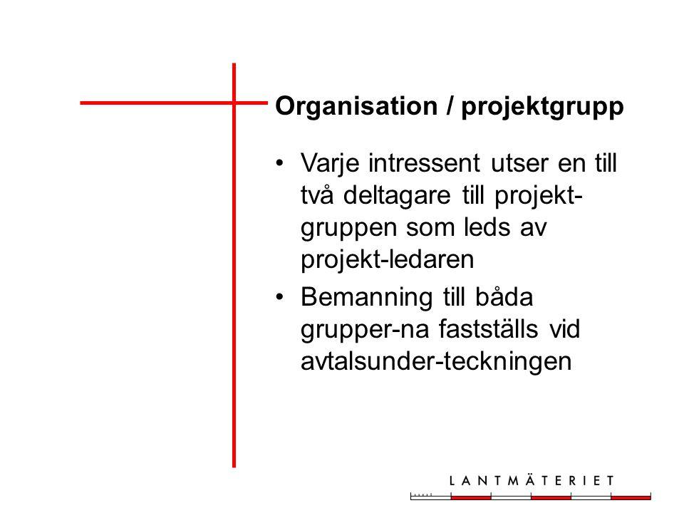 Organisation / projektgrupp Varje intressent utser en till två deltagare till projekt- gruppen som leds av projekt-ledaren Bemanning till båda grupper-na fastställs vid avtalsunder-teckningen