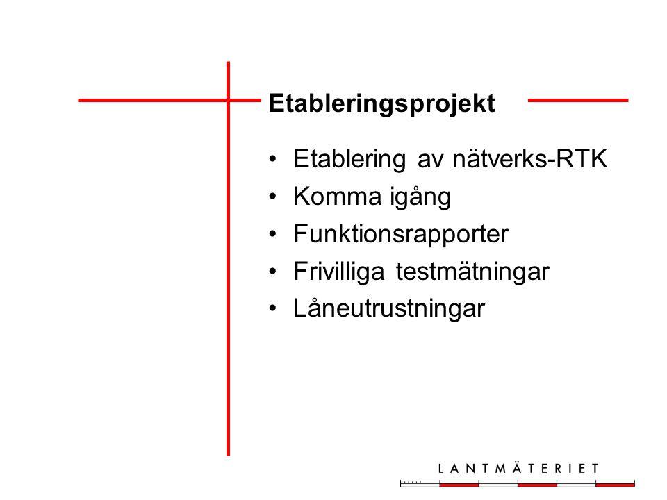 Etableringsprojekt Etablering av nätverks-RTK Komma igång Funktionsrapporter Frivilliga testmätningar Låneutrustningar