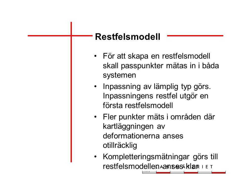 Restfelsmodell För att skapa en restfelsmodell skall passpunkter mätas in i båda systemen Inpassning av lämplig typ görs.