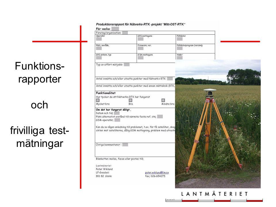 Funktions- rapporter och frivilliga test- mätningar