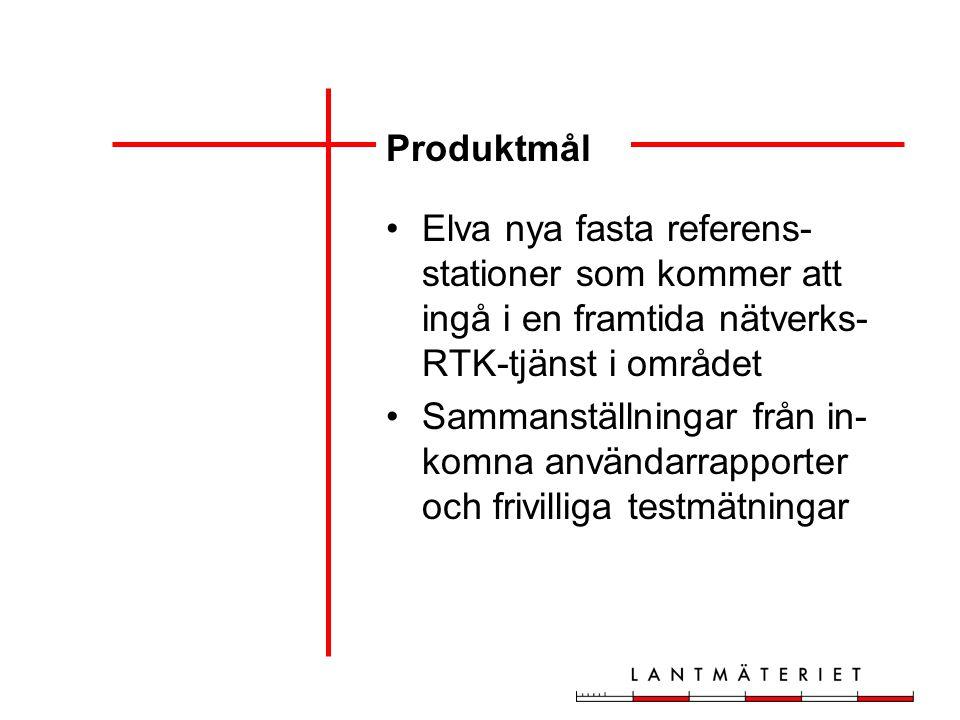 Produktmål Elva nya fasta referens- stationer som kommer att ingå i en framtida nätverks- RTK-tjänst i området Sammanställningar från in- komna användarrapporter och frivilliga testmätningar