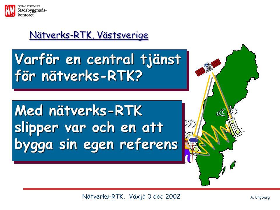 Varför en central tjänst för nätverks-RTK? Nätverks-RTK, Västsverige Med nätverks-RTK slipper var och en att bygga sin egen referens Nätverks-RTK, Väx