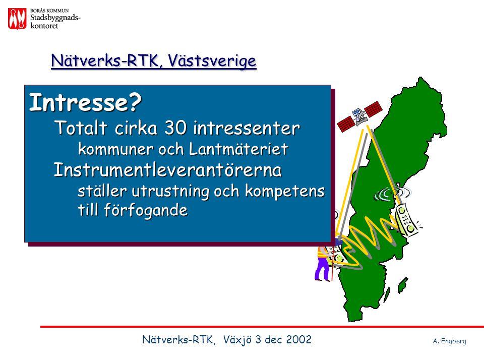 Nätverks-RTK, Västsverige Intresse? Totalt cirka 30 intressenter kommuner och Lantmäteriet Instrumentleverantörerna ställer utrustning och kompetens t