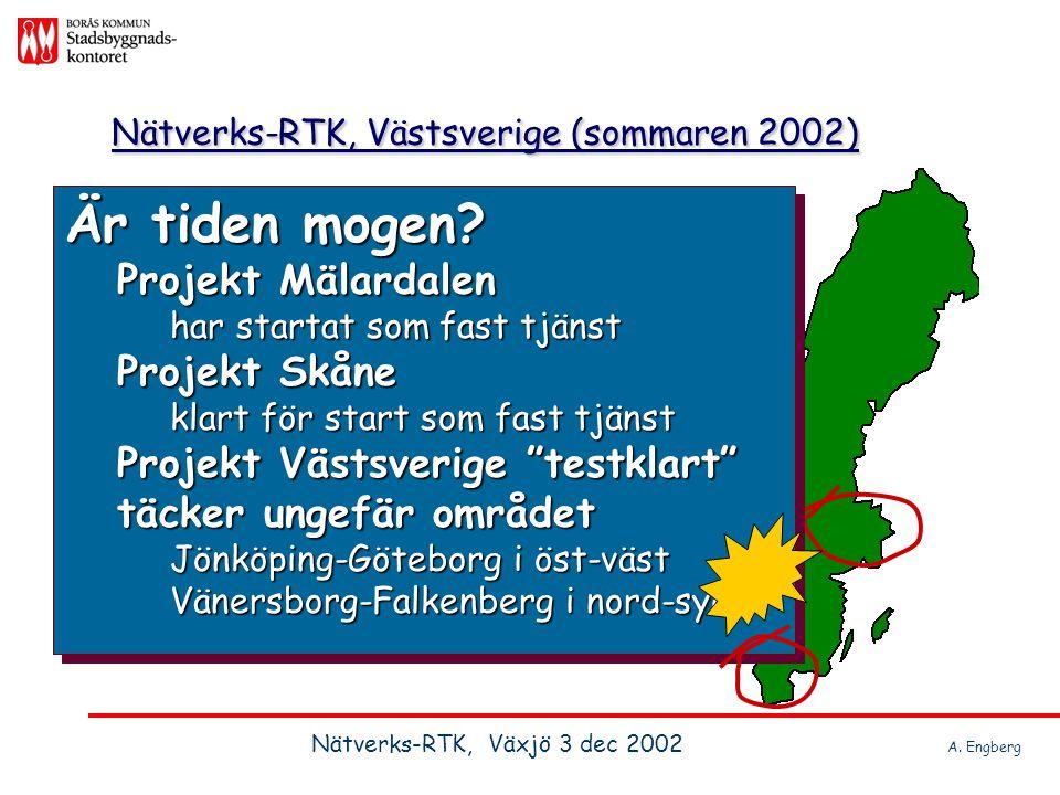 Nätverks-RTK, Västsverige (sommaren 2002) Är tiden mogen? Projekt Mälardalen har startat som fast tjänst Är tiden mogen? Projekt Mälardalen har starta