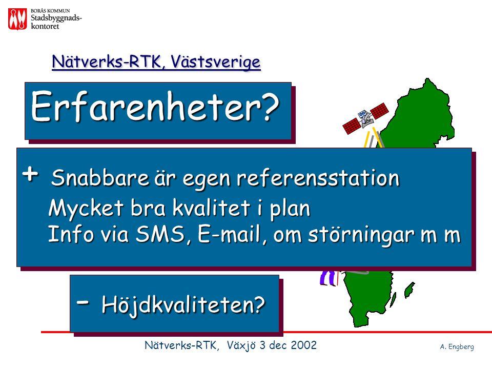 Nätverks-RTK, Västsverige Erfarenheter?Erfarenheter? Nätverks-RTK, Växjö 3 dec 2002 A. Engberg - Höjdkvaliteten? + Snabbare är egen referensstation My