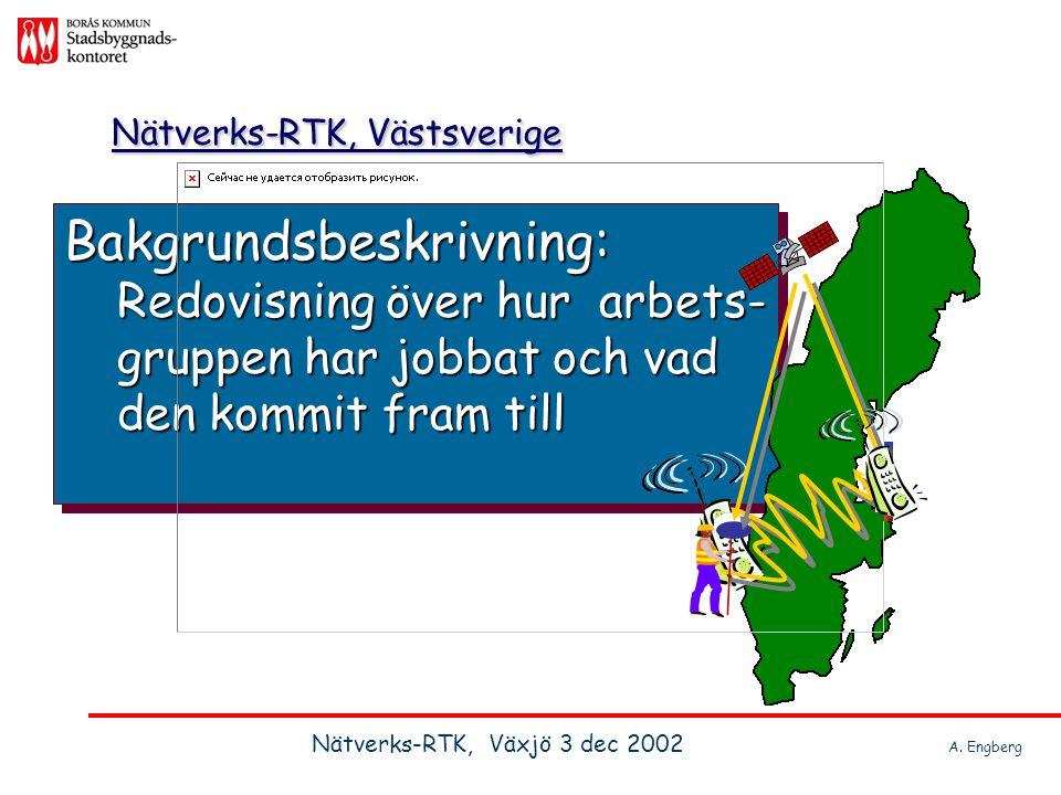 Projektledare Bo Jonsson Lantmäteriet Kontaktperson, kn Anders Engberg Borås Stadsbyggnadskonor Projektledare Bo Jonsson Lantmäteriet Kontaktperson, kn Anders Engberg Borås Stadsbyggnadskonor Nätverks-RTK, Västsverige Nätverks-RTK, Växjö 3 dec 2002 A.