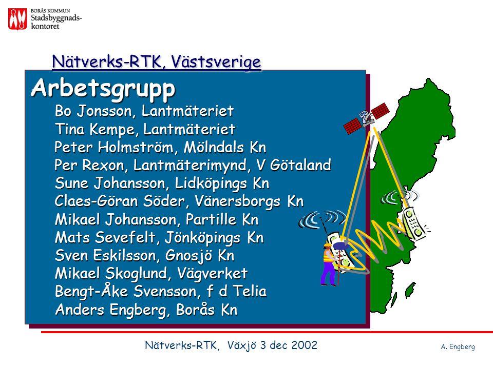 Nätverks-RTK, Västsverige Bakgrund, februari 2001 Info från Lantmäteriet och Onsala Rymdobservatorium: Projekt Mälardalen Projekt Mälardalen Projekt Skåne Projekt Skåne Västsverige, på gång.