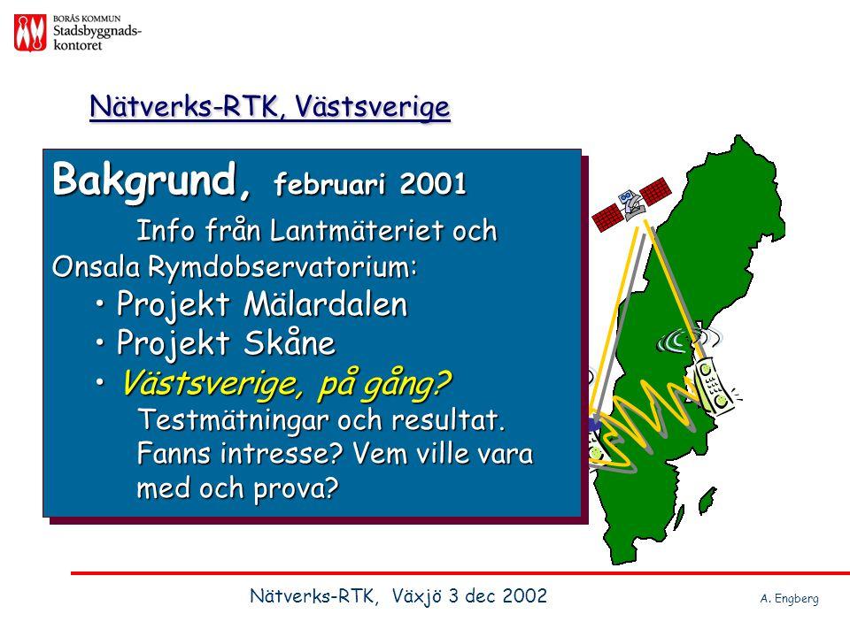 Nätverks-RTK, Västsverige Intressenter?LantmäterietKommunernaInstrumentleverantörernaVägverketBanverket Tele - el NCC, Skanska med flera Intressenter?LantmäterietKommunernaInstrumentleverantörernaVägverketBanverket Tele - el NCC, Skanska med flera Nätverks-RTK, Växjö 3 dec 2002 A.